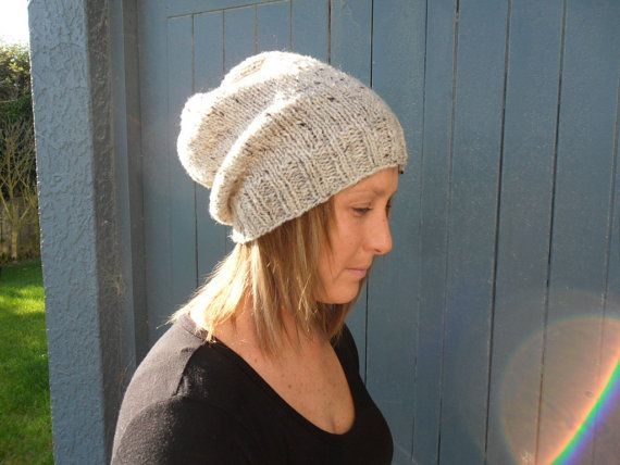 knitted tweed slouch beanie by RusticValley on Etsy