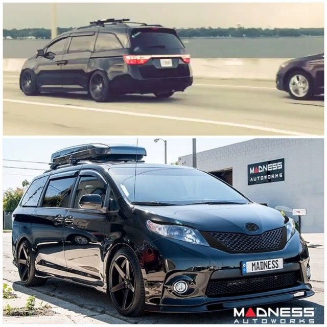 We have a soft spot for #murderedout vans... Such as these two...  TOP is owned by @familyfirstfashion  BOTTOM is owned by @her_and_sim and yes she is a mother...  @wehellalapid .. #toyota #sienna done by @madnessautoworks #honda #odyssey #rollingshot #familyfirst #familyhauler #formandfunction #murderedout #blackonblackonblack #vanning #vankulture #vksoflo #vksocal #bawssss #innoracks #citykruiser