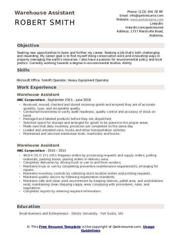 Warehouse Assistant Resume Samples Qwikresume Template