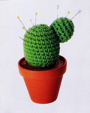 Picture of Home Sweet Crocheted Home. Cactus pin cushion....how cute!