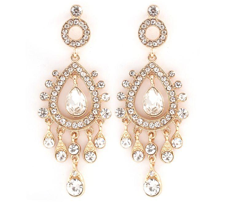 Leontine Chandelier Earrings in Crystal, need big earrings when you have big hair!