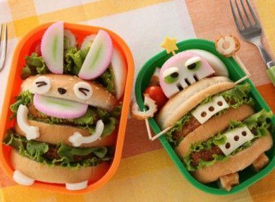 Super cute Robot and Bunny burger bentos #bento