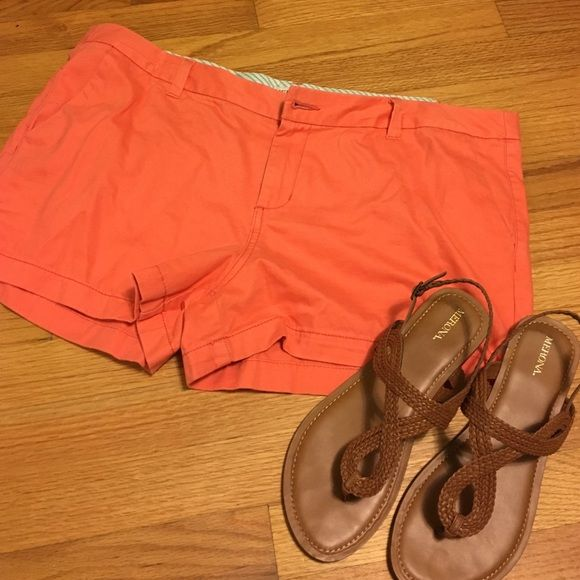 Cute peach shorts Selling these peach shorts! Worn once or twice. Size 16, but runs a little small. Cute for the summer  Merona Shorts