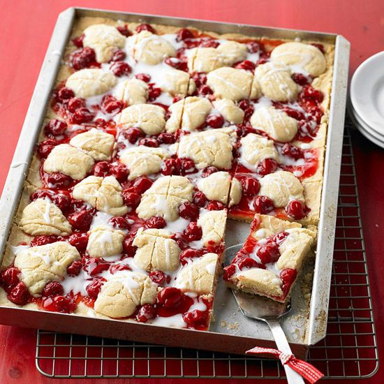 Cherry Kuchen Bars - easy bars made with canned cherry pie filling. (you could change up this recipe by using canned blueberries, peaches, strawberries, blackberries, apples, etc.... instead of cherries)