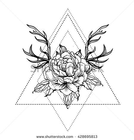 Blackwork tattoo flash. Peony flower with deer antlers. Vector illustration isolated on white. Tattoo design, mystic symbol. New school dotwork. Boho design. Print, posters, t-shirts and textiles.