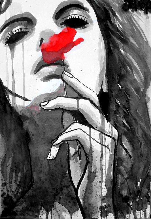 """Scent"" by Loui Jover. Pen and ink on paper; 23.6 x 15.5 in. #art #drawing"