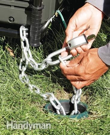 How to Stop Thieves  Anchor valuable trailers and equipment--- Pour concrete in a Sonotube concrete form in the ground and leave a U-bolt sticking out of the top to loop a chain through. This works great for trailers, mowers and generators. I run a heavy 5/16-in. chain through everything and padlock it to the concrete anchor.   Read more: http://www.familyhandyman.com/home-security/how-to-stop-thieves/view-all