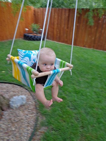 DIY Baby Hammock Swing by onesassyhousewife: Terrific! Made for under thirty dollars! #DIY #Baby_Hammock #Swing