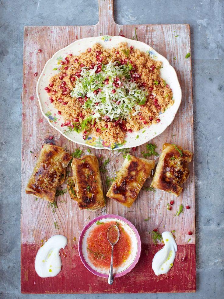Crackin' crab briks with couscous salad & salsa