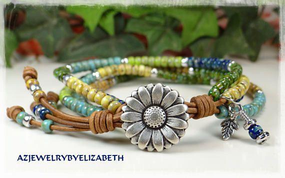 Beaded Leather Wrap/ Boho Seed Bead Bracelet/ Leather Wrap