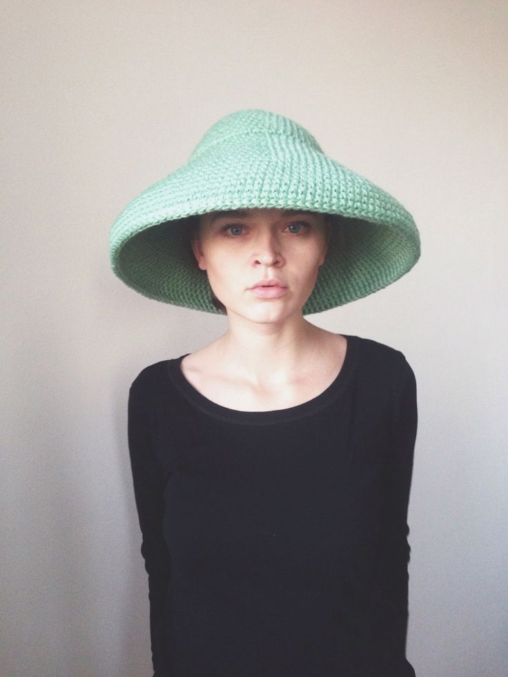 Crochet green wool hat by cyxodol. Fall winter 2015 2016 fashion knitwear knit accessories
