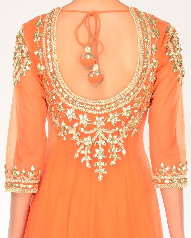 Gulmohar Orange Kalidar Suit with Gota Patti Embellishments - Buy Preeti S. Kapoor Online | Exclusively.in