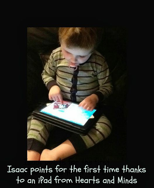 A youngster with autism points for the first time thanks to an iPad from Hearts and Minds