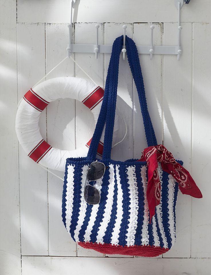 Yarnspirations.com - Lily Nautical Striped Bag - free Pattern - crochet - easy | Yarnspirations