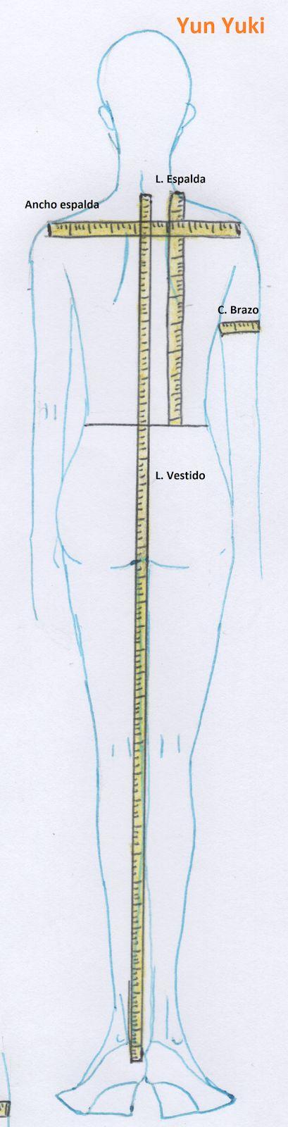 Largo pantalón / Largo falda/ Largo vestido: se mide colocando la cinta desde la cintura o bajo el cuello hasta el largo deseado, nota: ...