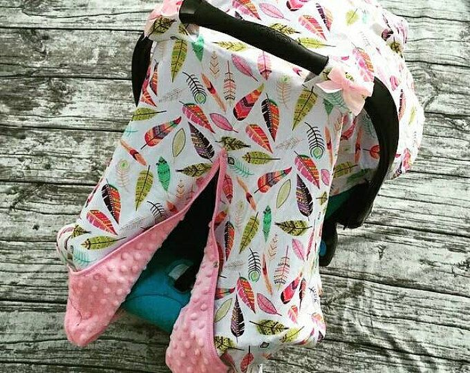Baby Car Seat Cover / Multi Colored Feathers / Arrow / White Deer / Pink Teepee / Baby Gift / Carseat Cover / Car Seat Canopy  You pick the cover you want. This sale is for 1 Baby Girl Car Seat Cover / Gold Polkadot and White / Arrow / White Deer / Pink Teepee / Baby Gift / Carseat Cover / Car Seat Canopy Carseat Cover. Made out of Cotton. Size: 36cm*42cm  PLEASE allow up to 2-3 weeks for product to be made and shipped. Shipped USPS  Thanks so much for stopping by, Have a blessed day.
