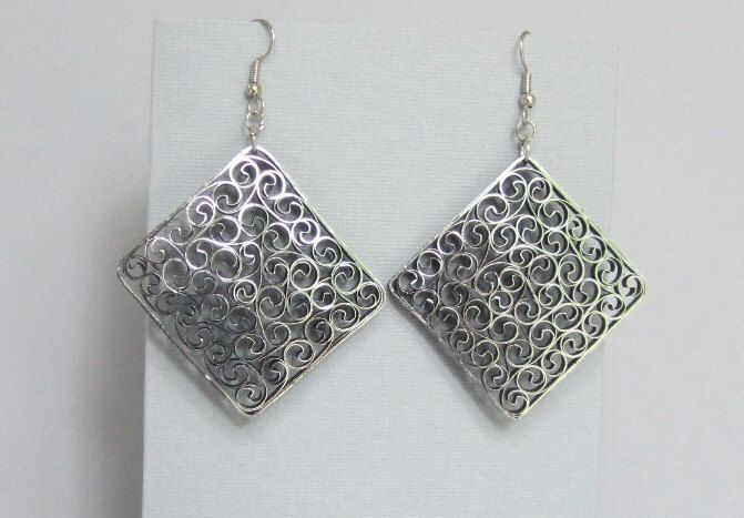 Quilled Earrings, Silver on Black, Paper Filigree