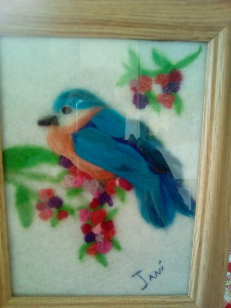 Pintura en fieltro pájaro Azul