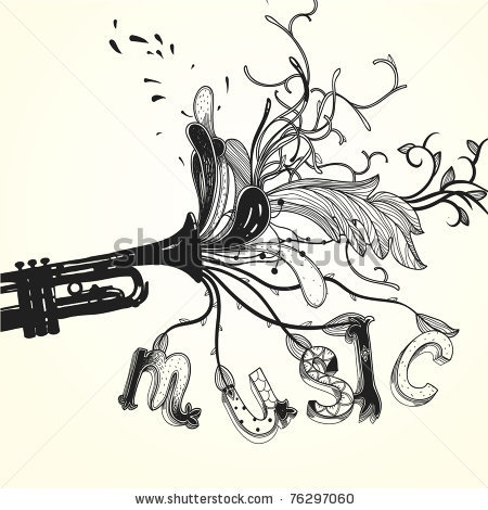 stock vector : vector illustration of a trumpet with abstract plants and ornate letters
