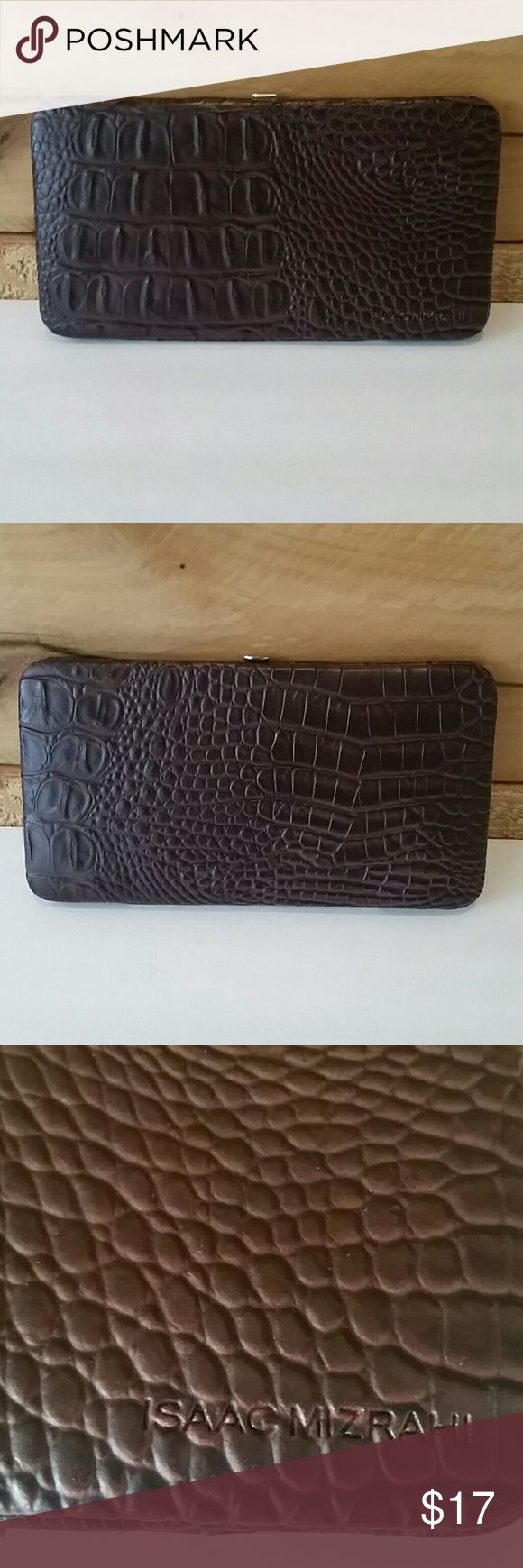 """NWOT Isaac Mizrahi faux alligator wallet NWOT Isaac Mizrahi faux alligator wallet in matte brown with hot pink interior. 3 pockets and numerous spots for cards. 3 3/4"""" tall, 7"""" wide. Issac Mizrahi Bags Wallets"""