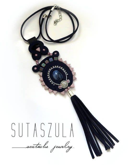 Boho navy blue colorful necklace soutache OOAK statement