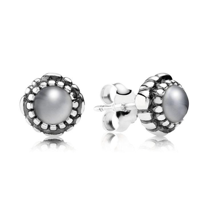 Grey Moonstone June Birthstone Earrings - PANDORA - PANDORA Austr