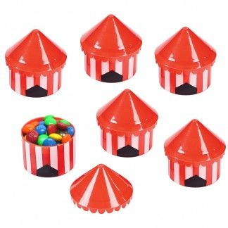 Pack of 6 circus tent mini plastic favour containers.These small plastic containers come unfilled ready for you to fill with favours and treats for each party guest.They also look great as table decorations in front of each guests place setting ready to pop a small cupcake in to perhaps take home.They measure 5.5cm wide and stand approx 7cm tall (with lid on).