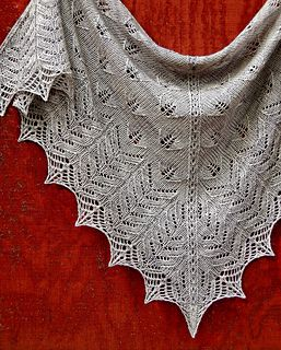 """Tristano Shawl by Dee O'Keefe. 510 - 560 yards of Fingering-weight yarn 59"""" x 27"""" in fingering weight; 64"""" x 30"""" in sport weight (sport weight yardage - 580-630 yards.), but the size is easily customizable $6.00 pattern on Ravelry"""