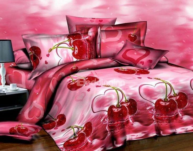 New Arrival High Quality Marvellous Fresh Cherry 3D Print 4 Piece Bedding Sets  @bedding inn