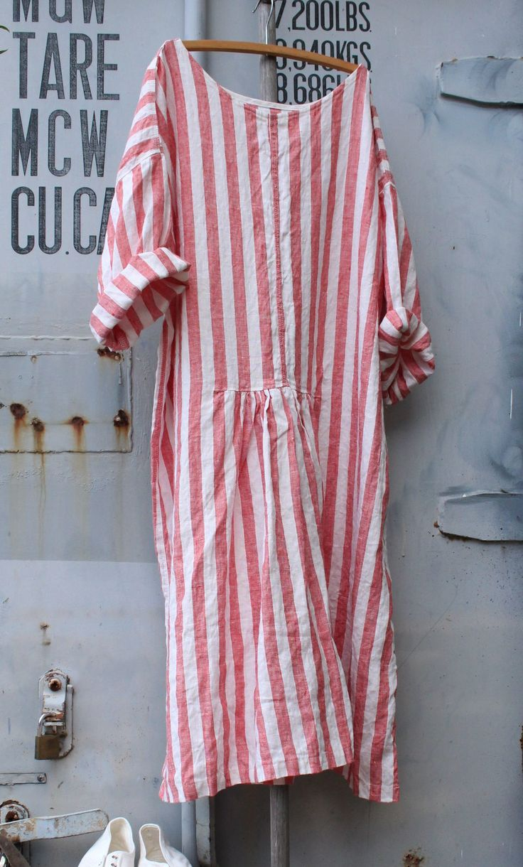 Linen Beach Dress MegbyDesign / Pink and white / Candy stripe print