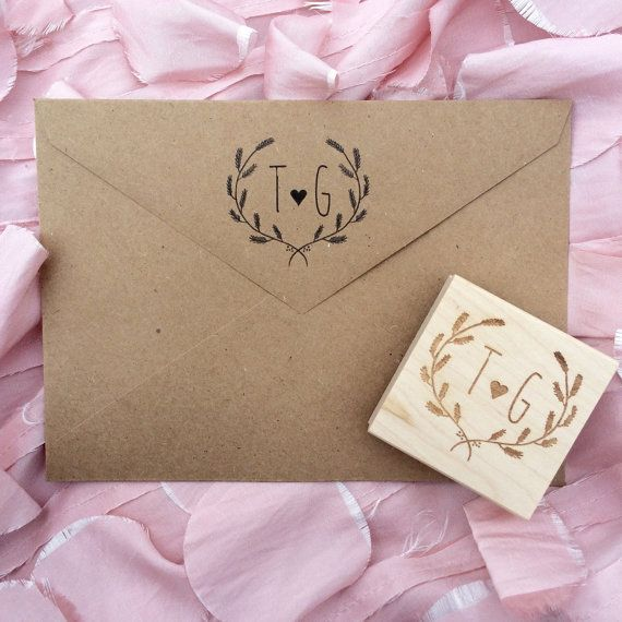 Initial Stamp / Save the Date Stamp / Wedding by SugarAndChicShop