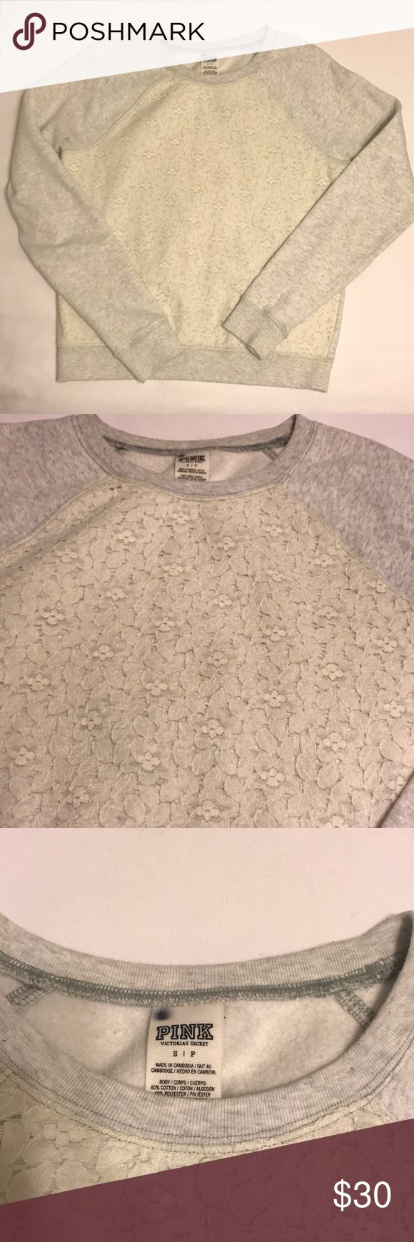 Victoria's Secret Crew Sweatshirt S Heathered Gray sleeves and cream lace bodice. Purchased at the outlet in 2015. Normal Wear. Still in good condition. Size Small top to bottom 24 inches from shoulder to wrist 27inches. PINK Victoria's Secret Tops Sweatshirts & Hoodies