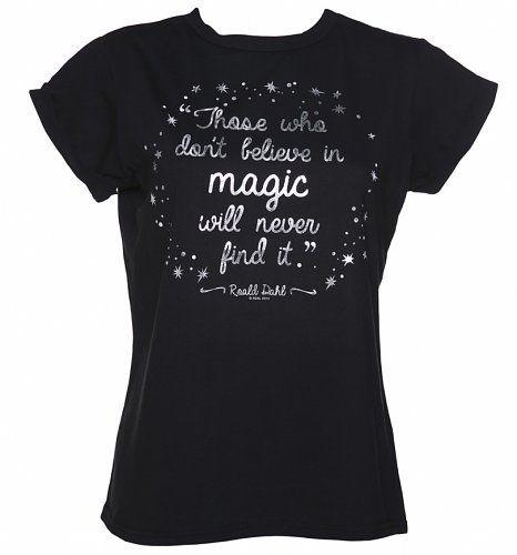 Ladies Roald Dahl Believe In Magic Foil Print Rolled Sleeve Boyfriend T-Shirt from TruffleShuffle xoxo