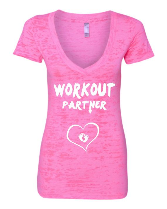 WORKOUT PARTNER with baby feet heart  Burnout Crossover V Vneck T-shirt  Deep V Women's Workout Tank Top Pregnant Women So Cute