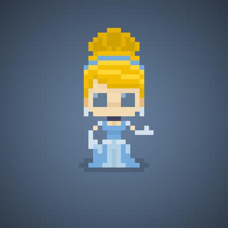 Famous Characters in Pixel Art Cinderella or Cenerentola from Cinderella #cinderella #cenerentola #cenerella #princess #disneyprincesses #disneyprincess #principessa #principesse #disney #waltdisney #broom #pixelart #pixel #16bit #theoluk