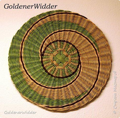 Картина панно рисунок Плетение Панно 40-43 см Мои новые потуги Спираль всё затягивает-и затягивает   Бумага газетная Трубочки бумажные фото 3