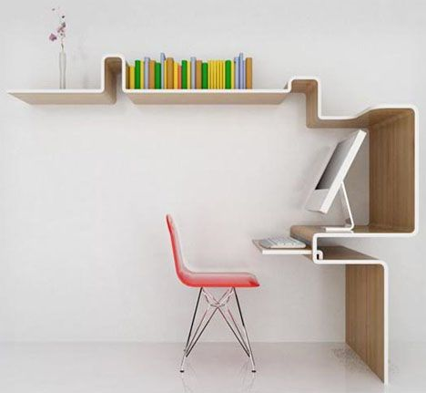 One piece shaped desk / library. Oh niiice.