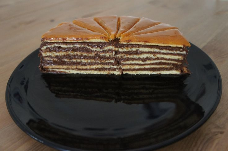 Homemade Dobos cake. It was a birthday cake for our guest.