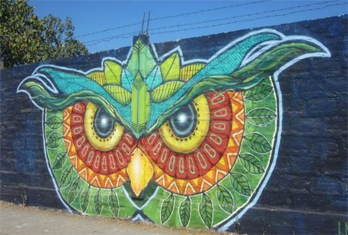 Google Street Art Project - Owl Graffiti
