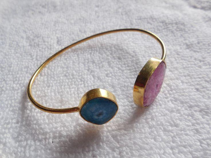 Natural Druzy Bracelet,Gold Bezel Open Bracelet,Druzy Gemstone Cuff,Adjustable Bracelet,Bangle Bracelet by InternationalByBeads on Etsy