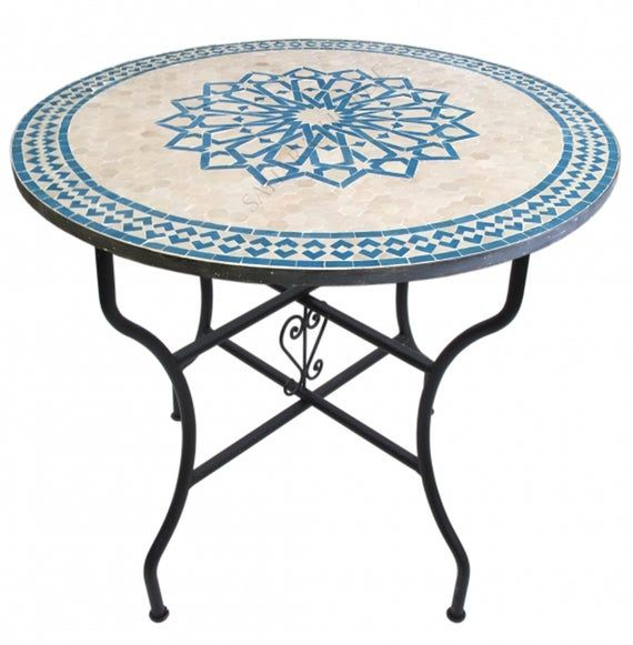 Moroccan Mosaic Table Handmade , Handcrafted Round Moroccan Outdoor/ Indoor Mosaic , Mosaic Table, Multi-Color , Moroccan decor