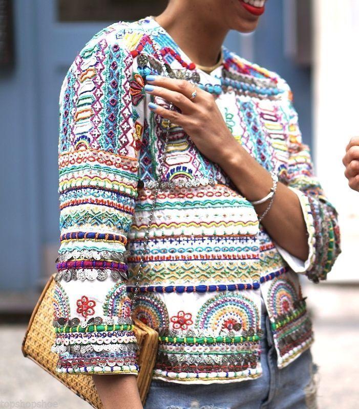 ZARA NUEVA chaqueta étnica abalorios y bordados multicolor COLORES talla Mediana |