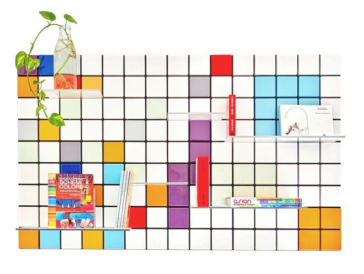 Confetti shelf system customized: 3 modules, mixed colors. #tentlondon15 #nordicdesign #shelfsystem #scandinaviandesign #interiordesign #flexibleshelfsystem