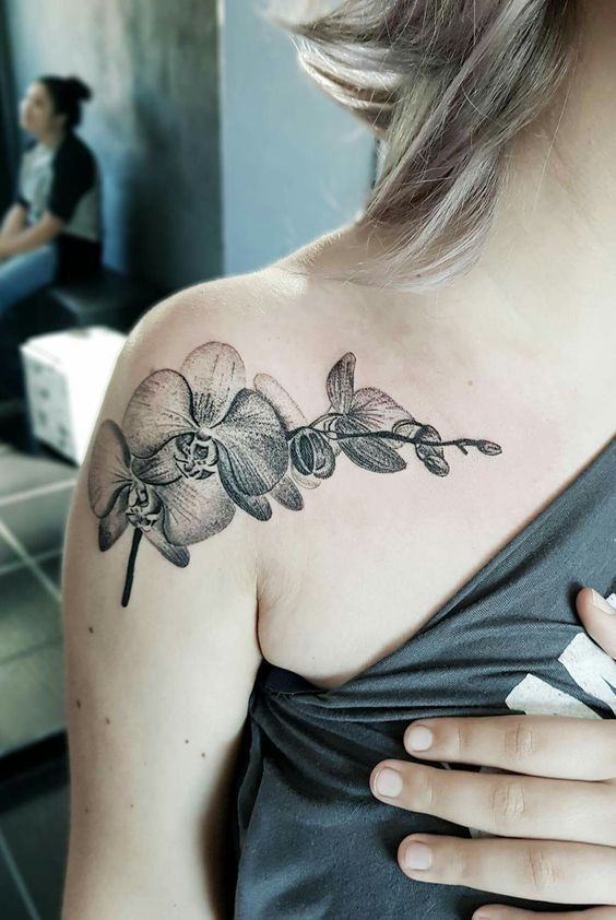 555215f8b Best orchid tattoos for women   Addition to shoulder tattoo   Orchid ...