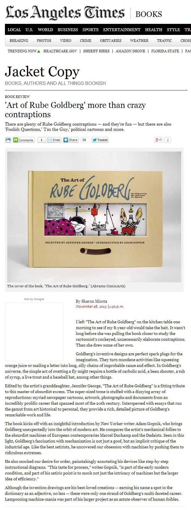 THE ART OF RUBE GOLDBERG draws insightful praise from Sharon Mizota at the LA Times (November 29, 2013)