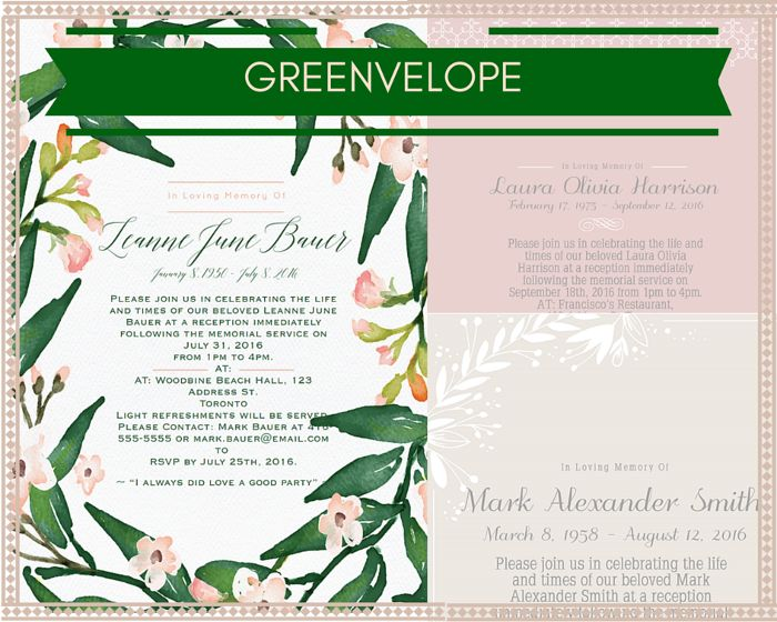 35 best Funeral Reception Invitations images on Pinterest Funeral - memorial service invitation wording