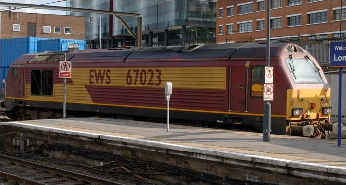 Class 67023 at Kings Cross on August Bank Holiday Monday in 2008