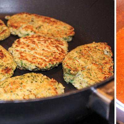 Persille-kikærte-frikadeller med tomatsauce (pandestegte falafler) | Opholdsrum