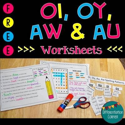Word work is a great way for students to manipulate word family spellings. This worksheet pack features the oy, oi, aw and au spellings. Included is a word search,a word sort AND a fill in the blank worksheet both featuring au, aw, oi and oy vowel sounds!  The word sort includes a title to use when using small pocket charts as a small group or one on one reading interventions.  Check out all of my Word Work in my store! Thanks for looking!