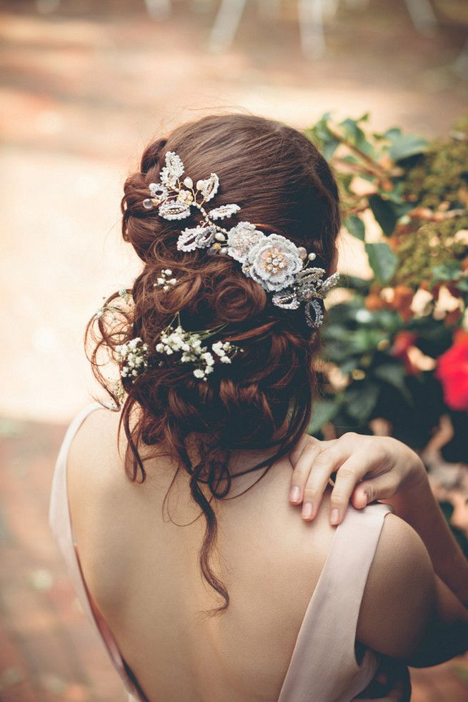 Perfectly elegant messy boho wedding upstyle.    Wrap around boho rope braid with Silk and lace hair vine // Luxe Handcrafted Heirloom Wedding Jewelry by Edera Jewelry // La Candella Weddings Photography